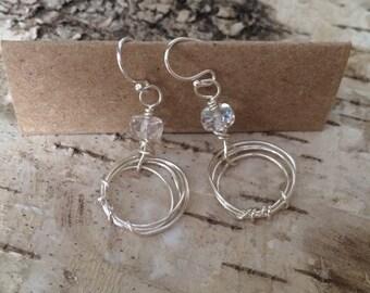 Silver scribble earrings