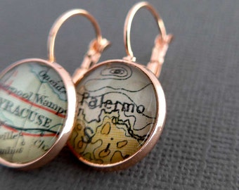 Personalized Rose Gold Earrings, Wife Gift, Map Earrings, Personalized Womens Gift, Personalized Jewellery, Girlfriend Gift