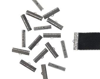150pcs.  25mm  (1 inch)  Gunmetal Ribbon Clamp End Crimps - Artisan Series