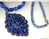 Love Yourself Sale 1920s Art Deco Necklace Blue Glass Pendant and Beads