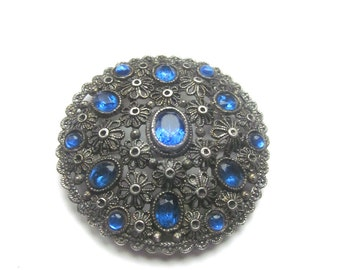 Large Vintage Brooch Silver Filigree Style Blue Glass Stones