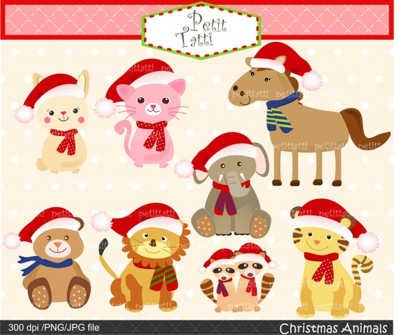 Items similar to on sale christmas clip art baby animal for Christmas pictures of baby animals