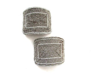 Cut Steel Bead Shoe Clips Buckles French Finding Appliques Rare Sewing Jewelry Supply Assemblage
