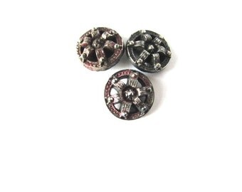 Cut Steel Button Victorian 1800's Sewing Costume Design 3pc Red Tint Silver