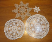 4 Tatted Doilies, White and Beige, Shabby Chic, French Decor, Tatting, Victorian
