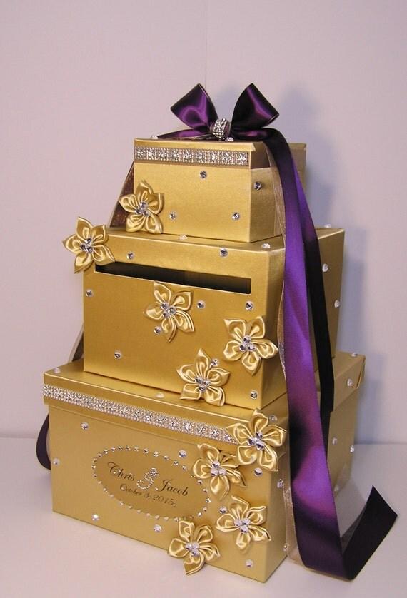 Wedding Gift Card Box Gold : Wedding Card Box Gold and Purple Gift Card Box Money Box Holder ...