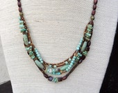 Blue Green Magnesite Necklace - Multi Strand Necklace, Blue Green Magnesite Beads, Brown Glass Beads, Wood Beads