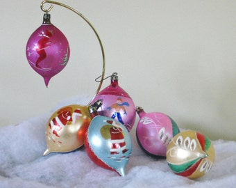 Vintage Christmas Teardrop Ornaments, Six 6 Hand Painted Poland Mercury Glass Tree Trimming Hanging, Mid Century Decoration Decor
