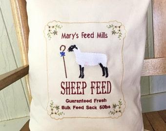 Sheep Feedsack Pillow - Farmhouse Pillow - Cottage Chic Pillow - Farm Animal Decor - Embroidered Farm Decor  - Animal Nursery Decor