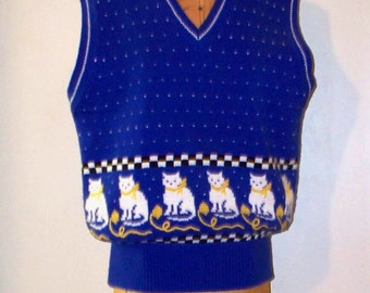1980s country kitty cat knit vest