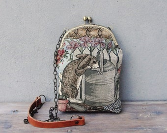 Rabbit Bag, Vintage Tapestry, Bunny in the Garden, Little Kiss lock Purse