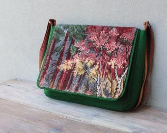 Felt Woodland Messenger Laptop Macbook Bag Sleeve with Vintage Gobelin
