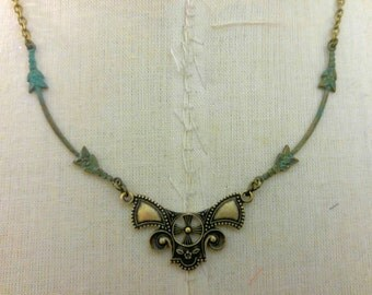 Art Deco Patina Necklace Floral Necklace Verdigris Patina Jewelry by I am Joolienn