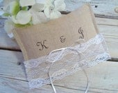 Linen ringbearer pillow . personalized ring pillow with white lace