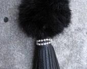 Pompom Keychain fur ball bag charms with long leather tassel clasp, handbag charm, tassel key chian