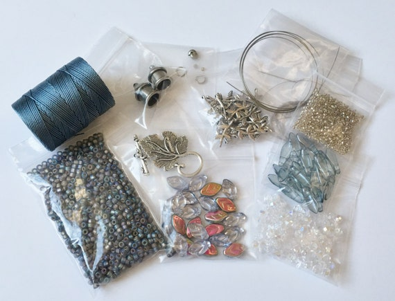 Bead and Findings Kit to create 'Black Diamond Alexandrite' an Embellished Kumihimo Collar, Free Canvas Tote Too