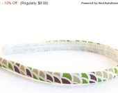 SALE Skinny Neutral Headband - Abstract Print in Tan, Brown and Green