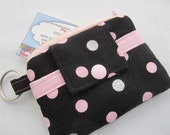 Zippy Wallet Pouch Key Glitter Silver and Pink Polka Dots  Card holder -