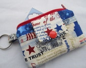 Zippy Wallet Pouch Key Red White and Blue America We Trust Stars Card holder -