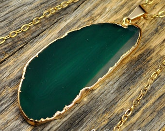 Agate Necklace, Green Agate Necklace, Green Agate Pendant, Agate Jewelry, Agate Stone, Gold Necklace, Slice Agate, 14k Gold Fill Chain