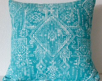 Pillow Cover - Coastal Blue - tribal print - southwester - boho chic - throw pillow case - Prints Sioux - Cushion Cover