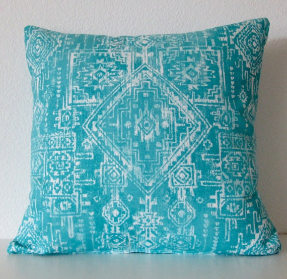 Southwestern Throw Pillow Covers : Coastal Blue tribal pillow cover southwestern by vintagechicdecor