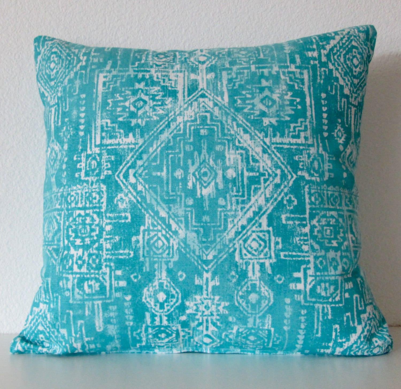 Coastal Blue tribal pillow cover southwestern by vintagechicdecor