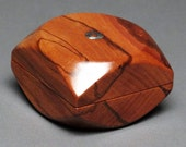 Small Wooden Pill or Ring Box with a Magnetic Closure made from  Exotic Hardwoods, 'The Squared /Circle Box'