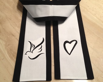 Clergy Stole for Wedding Officiant or Funeral Officiant in Black and White