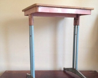 SALE: Presidents Day Hol Vintage Pastel Pink and Blue Vintage Mid Century School Desk.