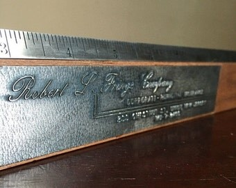 SALE: Presidents Day Hol Vintage Wooden and Metal Ruler. Robert L. Frings Insurance Company. Union, NJ