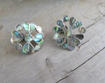 Heart Flower Abalone Inlay & Sterling Silver Screw Back Earrings - Vintage Non Pierced Earrings