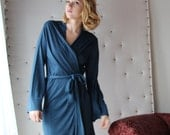 womens short robe - wool blend womens lounge wear lingerie and sleepwear range - MALLARD - made to order