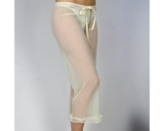 sheer pajama pants with ruffle trim - ROMANTIC - made to order