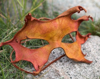 Fall Oak Leaf Leather Mask