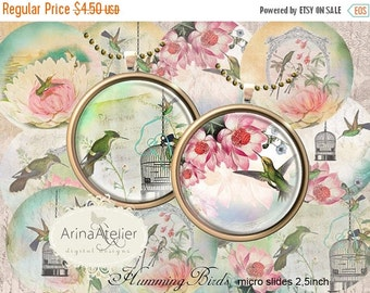 30% OFF SALE - Digital MicroSlides - Hummingbirds Vintage Circles 2,5inch - Collage Micro slides - Pocket Mirrors, Pendants, Collage Sheet -