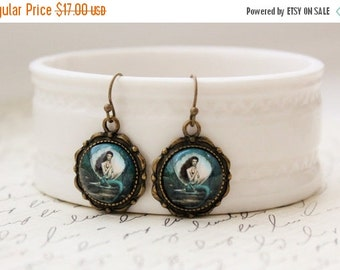 SALE Teal Mermaid Earrings