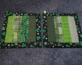 Luck of the Irish Green Stripe Kitchen Potholder Set
