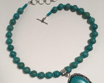 Turquoise bead necklace with silver finding antique look by Ruth Sachs