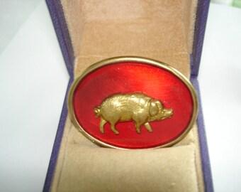 Red Pig Vintage Jewelry  Animal Brooch