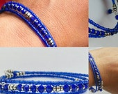 Sparkling Cobalt Crystal Seed Beads and Hill Tribe Silver Bracelet Memory Wire