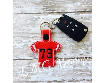 Sports Jersery key fob Fan Keyring,  Clip on keychain for fans, team fan gift,  Personalized with initials or name and number, Team colors