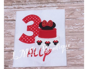 Minnie Mouse shirt - Minnie Inspired Birthday Cake Top Custom Tee Shirt, Infant to Youth, Personalized Minnie shirt