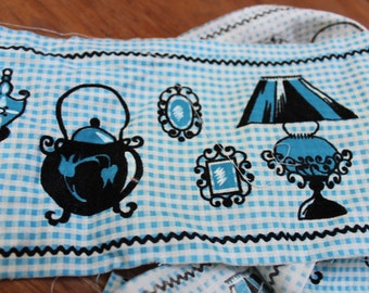 """Novelty Print Cotton Fabric Border Trim 5"""" x 60"""" Blue Gingham Felted design Quilt weight VINTAGE by Plantdreaming"""
