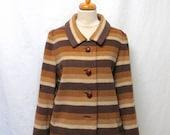 1960s Vintage Mohair Jacket / Brown Striped Wool Jacket