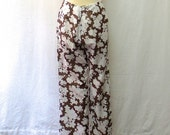 1960s Vintage Cotton Voile Trousers / Brown & White Floral Striped Pants