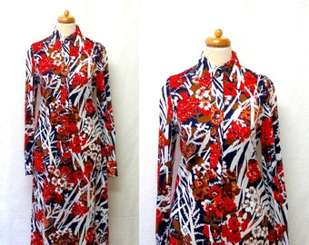 1960s Vintage Cotton Jersey Dress / Red White Blue Brown Floral Shirtwaist Shift Dress