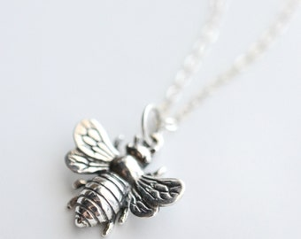 Sterling Silver Bee Necklace - Bumblebee Necklace - Honeybee Charm Necklace