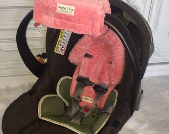Coral Car seat CUDDLE bundle set YOU pick minky color