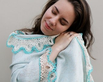 Hand woven blue shawl wrap - Tenderness